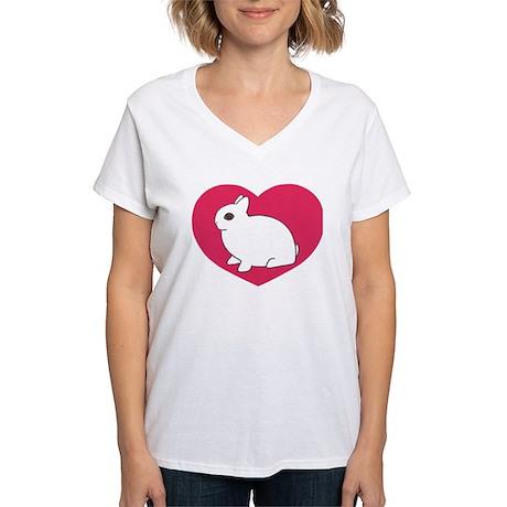 I Love My Dwarf Hotot Women's V-Neck T-Shirt