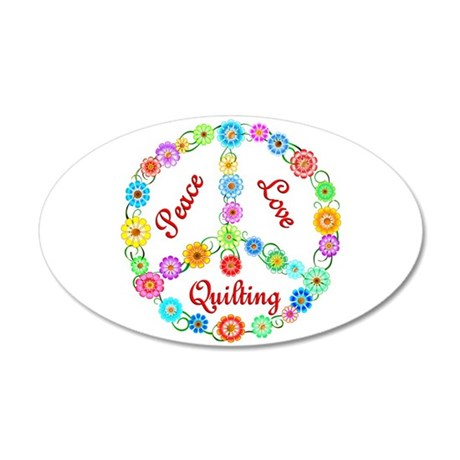 Quilting Peace Sign 38.5 x 24.5 Oval Wall Peel
