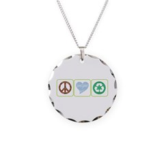 Peace, Love, Recycling Necklace