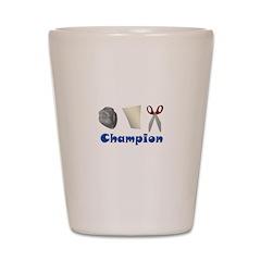 Rock Paper Scissor Champ Shot Glass