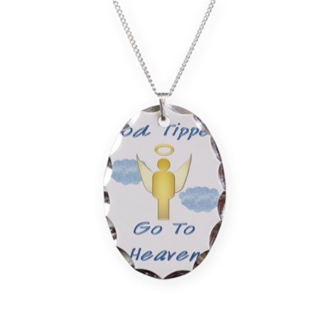 Good Tipper Angel Necklace Oval Charm