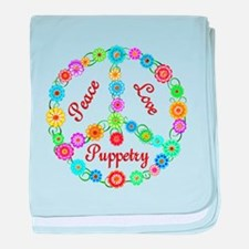 Puppetry Peace Sign baby blanket