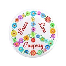 """Puppetry Peace Sign 3.5"""" Button"""