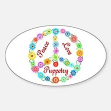 Puppetry Peace Sign Sticker (Oval)