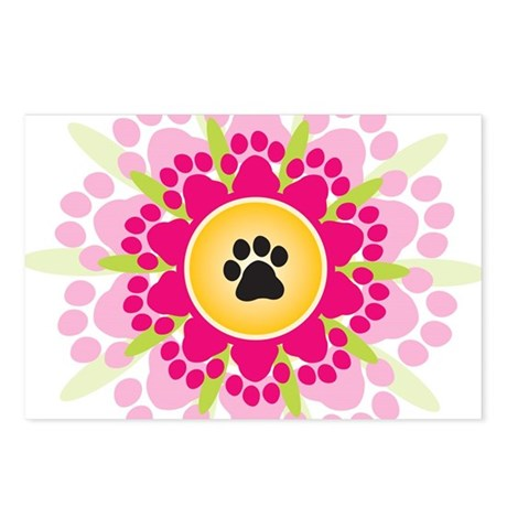 Paw Prints Flower Postcards (Package of 8)