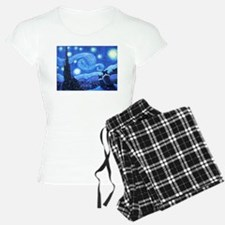 Starry Night Border Collies Pajamas