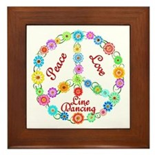 Line Dancing Peace Sign Framed Tile