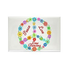 Line Dancing Peace Sign Rectangle Magnet