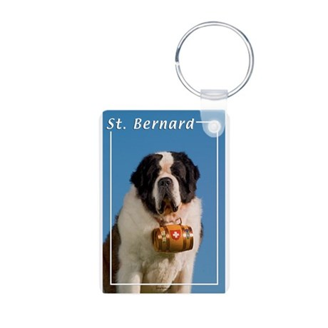 St Bernard-5 Aluminum Photo Keychain