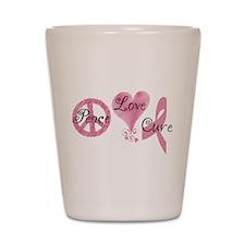Peace Love Cure (Pink Ribbon) Shot Glass