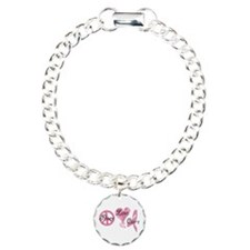 Peace Love Cure (Pink Ribbon) Charm Bracelet, One