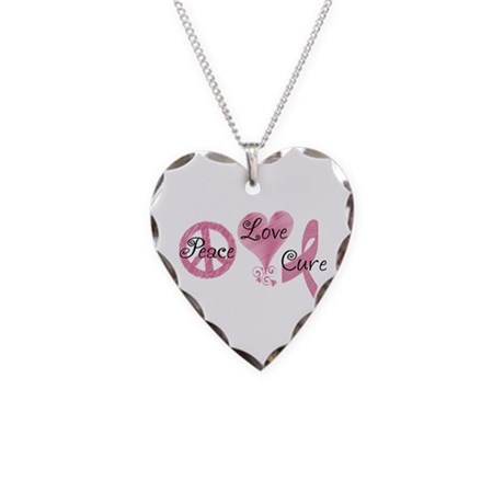 Peace Love Cure (Pink Ribbon) Necklace Heart Charm