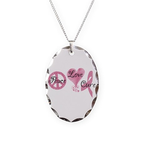 Peace Love Cure (Pink Ribbon) Necklace Oval Charm