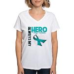 Ovarian Cancer Hero Teacher Women's V-Neck T-Shirt