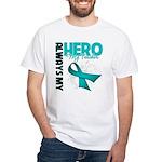 Ovarian Cancer Hero Teacher White T-Shirt