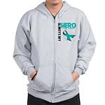 Ovarian Cancer Hero Teacher Zip Hoodie