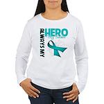 Ovarian Cancer Hero Teacher Women's Long Sleeve T-
