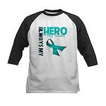 Ovarian Cancer Hero Teacher Kids Baseball Jersey