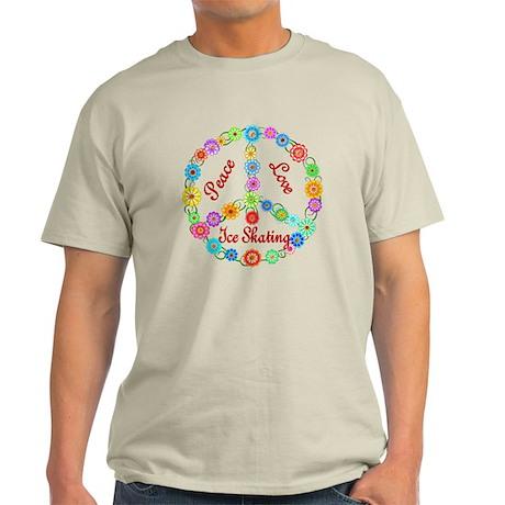 Ice Skating Peace Sign Light T-Shirt