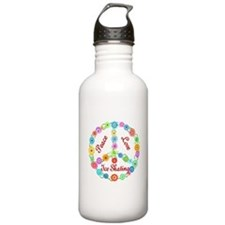 Ice Skating Peace Sign Water Bottle