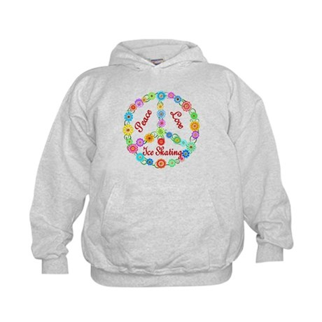Ice Skating Peace Sign Kids Hoodie