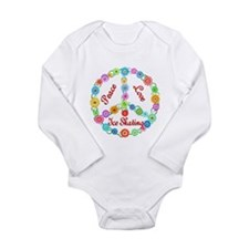 Ice Skating Peace Sign Long Sleeve Infant Bodysuit