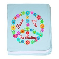 Ice Skating Peace Sign baby blanket