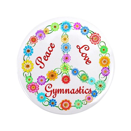 """Gymnastics Peace Sign 3.5"""" Button (100 pack)"""