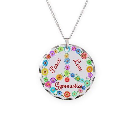 Gymnastics Peace Sign Necklace Circle Charm
