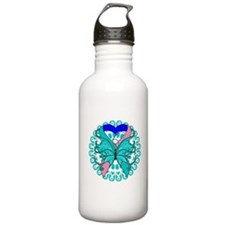 Thyroid Cancer Butterfly Water Bottle
