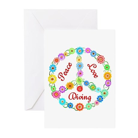 Diving Peace Sign Greeting Cards (Pk of 10)