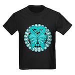 Ovarian Cancer Butterfly Kids Dark T-Shirt
