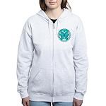 Ovarian Cancer Butterfly Women's Zip Hoodie
