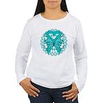 Ovarian Cancer Butterfly Women's Long Sleeve T-Shi