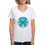 Ovarian Cancer Butterfly Women's V-Neck T-Shirt