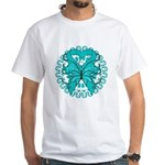 Ovarian Cancer Butterfly White T-Shirt