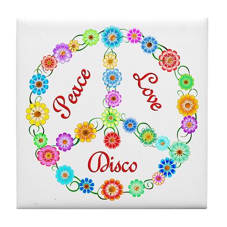 Disco Peace Sign Tile Coaster