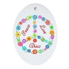 Disco Peace Sign Ornament (Oval)