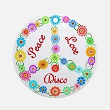 Disco Peace Sign Ornament (Round)