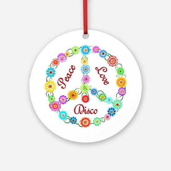 Disco Peace Sign Ornament (Round)