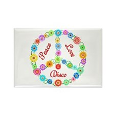 Disco Peace Sign Rectangle Magnet