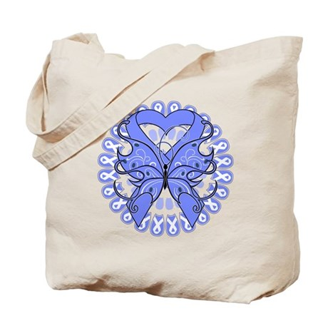 Esophageal Cancer Butterfly Tote Bag