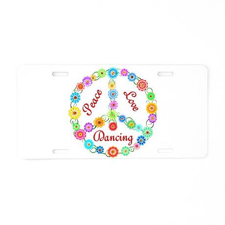 Dancing Peace Sign Aluminum License Plate