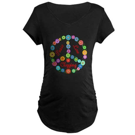 Clogging Peace Sign Maternity Dark T-Shirt