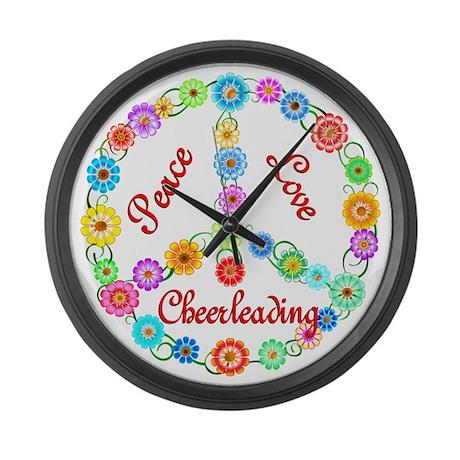 Cheerleading Peace Sign Large Wall Clock