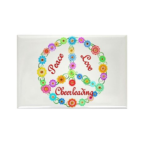 Cheerleading Peace Sign Rectangle Magnet (10 pack)