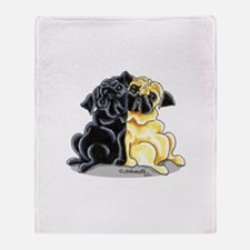Black n' Fawn Pug Throw Blanket