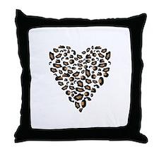 Leopard Print Heart Throw Pillow