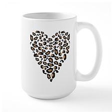 Leopard Print Heart Mug