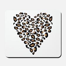 Leopard Print Heart Mousepad